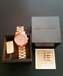 Michael Kors Rose Gold Watch MK5128 Womens Very Good Condition Boxed Designer