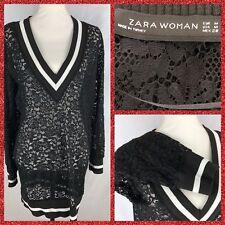 Zara Woman Basic Black Lace Dress/shirt Size Medium