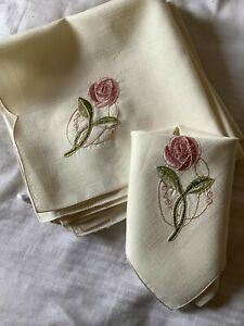 10 NEW NAPKINS WITH RENNIE MACKINTOSH STYLE ROSE EMBROIDERY