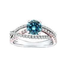 0.78 Carat Blue SI1 Round Diamond Solitaire Wedding Bridal Ring 14K White Gold