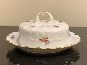 Meissen Porcelain Scattered Flowers Covered Butter Dish