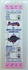 1992 World Series Full Ticket Toronto Blue Jays 1st Title Atlanta Braves Game 6