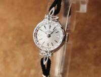 Tradition 14K White Gold Diamond 15mm Ladies Hand Wind 1950s Dress Watch SIW111