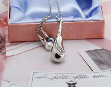 18K White Gold Filled Pearl Teardrop Drop Pendants Necklace Swarovski Crystal