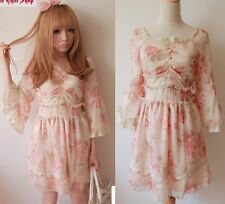 Kawaii Cute Sweet Dolly Gothic Lolita Princess Sleeve Floral Chiffon Lace Dress