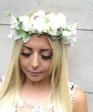 Ivory White Green Rose Ranunculus Flower Headband Garland Hair Crown Floral 1356