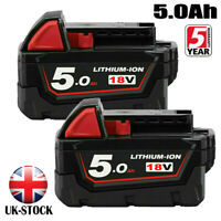 2X18V For Milwaukee M18 M18B5 Lithium 5.0AH Extended Capacity Battery 48-11-1828