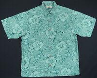 NWOT Tommy Bahama Hawaiian Green Floral Leaf Loop Collar Short Sleeve Silk Shirt