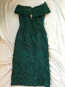 Vintage Jessica McClintock Bridal Green Off Shoulder Dress Paisley Floral 80s 12