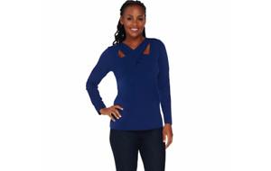 Susan Graver Liquid Knit Crossover Neck Top Prussian Blue 1X A282901 QVC J