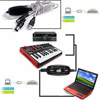 For Home Music Studio USB 2.0 to MIDI Cable PC / Mac MIDI Interface Converter US