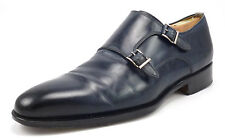 Magnanni Men's Shoes Size 9 US Leather Double Monk Straps Dark Blue