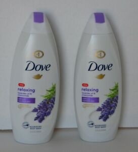 Set of 2 Dove Relaxing Lavender Oil & Chamomile Nourishing Body Washes - 22 f...