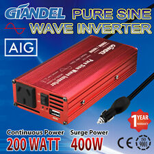 Pure Sine Wave Power Inverter 200W/400W 12V to 240VAC Car Cigarette Lighter Plug