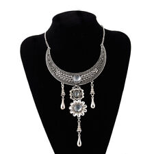 Indian Style New Moon Shape Silver Metal Necklace Pendant Collar Statement