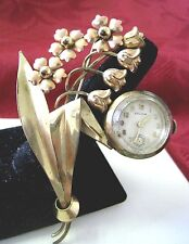 ANTIQUE SOLOW 1/20 12K GOLD FILLED LADIES RARE WATCH FLOWER PIN BROOCH VINTAGE