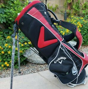 Callaway Org 7 Way Stand Golf Bag Logo's PGA Bob Hope Classic Black Red Silver