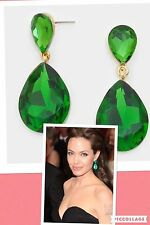 "1.75"" Green Emerald Gold Long Teardrop Crystal Pageant Bridal Earrings Formal"