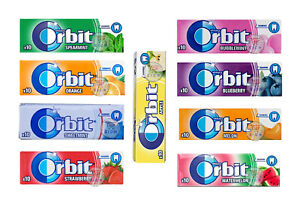 NEW WRIGLEY'S ORBIT 10 PACKETS MIXED CHEWING GUM (10 FLAVORS) STRAWBERRY, FRUIT