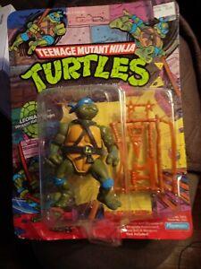 1988 10-back TEENAGE MUTANT NINJA TURTLES TMNT LEONARDO FIGURE MOC PLAYMATES
