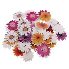 50 Pièce Marguerite Fleur En Bois 2 Trous Artisanat Boutons Pour Coudre