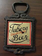 RARE! TUBORG Special Import Beer Cast Iron Bottle Opener Reverse painted Glass
