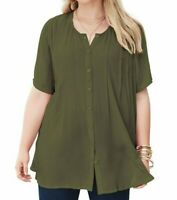 $45 New ROAMAN'S Sz 24W Olive Green Button Front Angelina Tunic Shirt 562