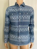 "All Saints Blue White Casual Mens Shirt L Large Long Sleeve 21"" Oslo Chambray"