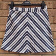 H&M Blanco Azul a Rayas a Rayas Náutico de una línea Skater falda de té de algodón 12 M
