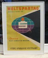 Plakat Weltspartag 1958 Sparkasse Stuttgart - monogrammierte Farblithographie