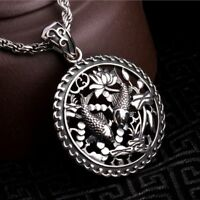 Men Double Fish Pendant Necklace 100% Real 925 Sterling Silver Solid Jewelry