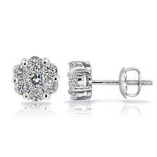 Screw Back (pierced) I2 Fine Diamond Earrings