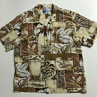 RJC USA Men's XL Brown Beige Floral Hawaiian Aloha Cotton Shirt Tropical Island