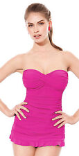 NWT PROFILE BY GOTTEX Magenta SWIMDRESS 1pc BANDEAU Swimsuit BATHING SUIT - 14