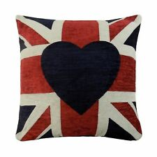 """LUXURY RED BLUE LOVE HEART UNION JACK WOVEN CHENILLE CUSHION COVER 18""""-45CM"""