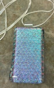 """Handcrafted Fused Dichroic Glass Pendant with 24"""" chain"""