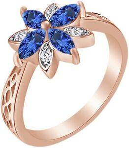 Marquise Cut Simulated Blue-Sapphire Flower Engagement Ring  Sterling  Silver