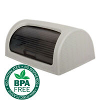 Bread Bin Box Kitchen Food Roll Top Storage Loaf Curved BPA Free Plastic GREY