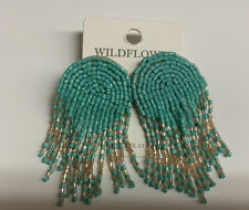 Turquoise Dangle Earrings Seed Beads Pierce Silver Fashion Jewelry Women