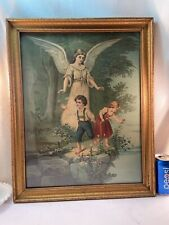 Vtg 40-50's Framed Print GUARDIAN ANGEL Watching Boy Butter Girl Picking Flowers