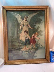 Vtg 40-50's Framed Print GUARDIAN ANGEL Watching Boy Butter Girl Picking Flowers