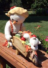 Sarah's Attic Large Snowonders Fall Wonders w/Harvest Cart Snowman Figurine#0446