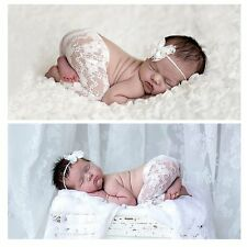 Cute Newborn Toddler Baby Girl Lace Pants & Headdress Photo Prop Costume Outfits
