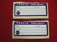 AIRLINE BAGGAGE STICKERS X 2 CHINA AIRLINES 1980'S / 90'S VINTAGE
