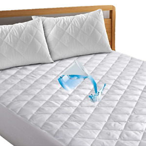 100% Natural Cotton Extra Deep Waterproof Quilted Mattress Protector Bed Cover