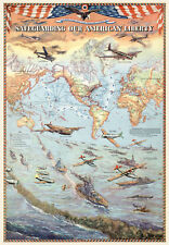 Pictorial World War Map Military Poster Bases Warships Aircraft Historic Print