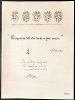 1926 - Litografia citazione il Principe Albert & principe Henry - WW1