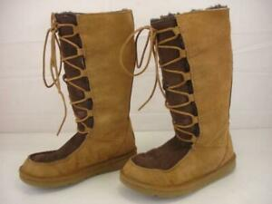 Women's 6 M Ugg Tall Whitley Chestnut Brown Sheepskin Shearling Fur Boots Suede
