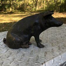 Vintage Black Cast Iron Pig Doorstop Coin Bank Heavy Large Sitting Pig Hog