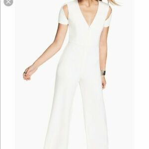 """$298 NEW NWT BCBG """"Hohnny"""" off white jumpsuit short sleeve sz S Small"""